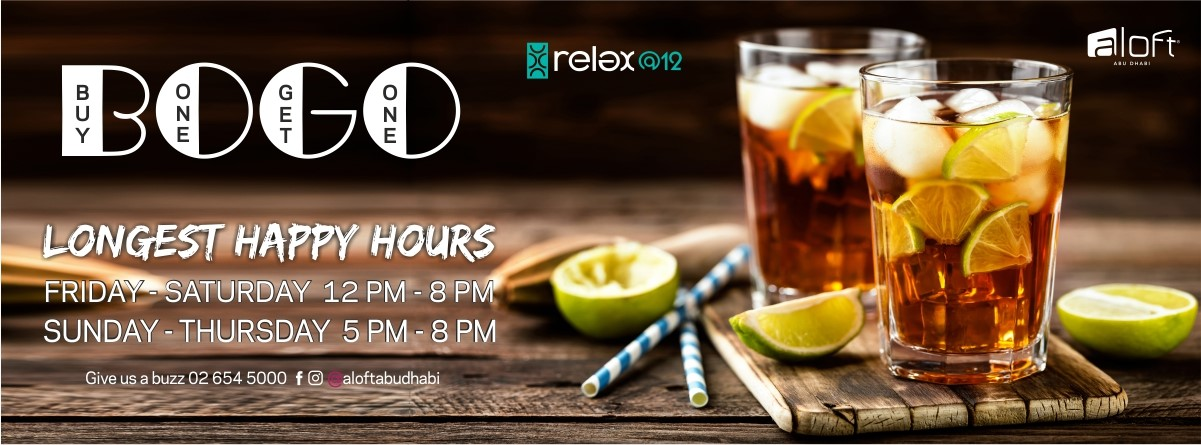 Longest Happy Hours in Abu Dhabi @ Relax@12