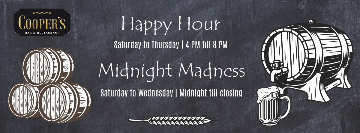Cooper's Happy Hour & Midnight Madness