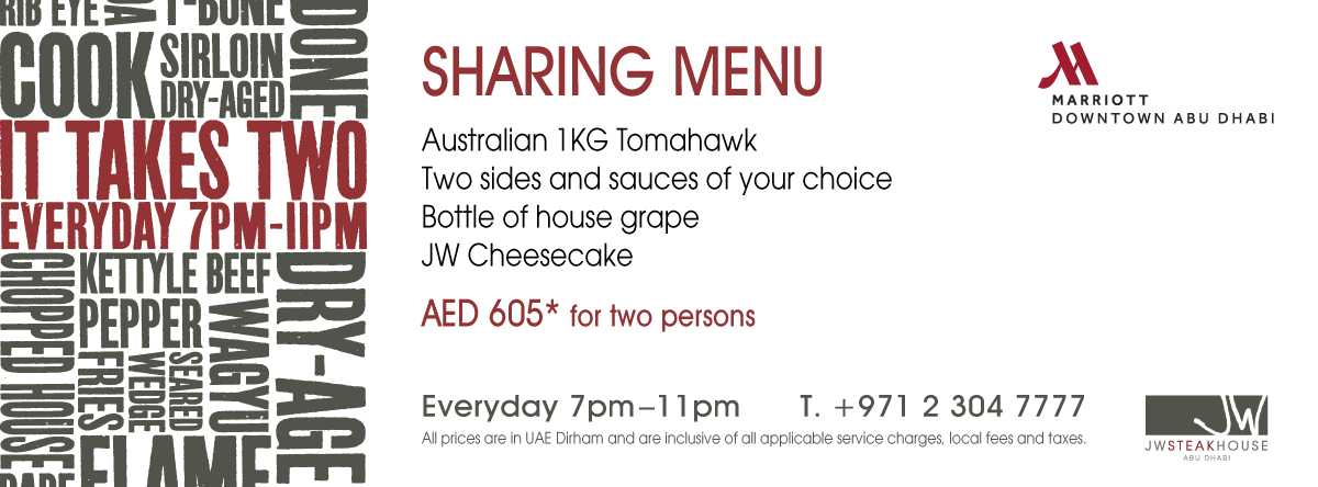It Takes Two @ JW Steakhouse