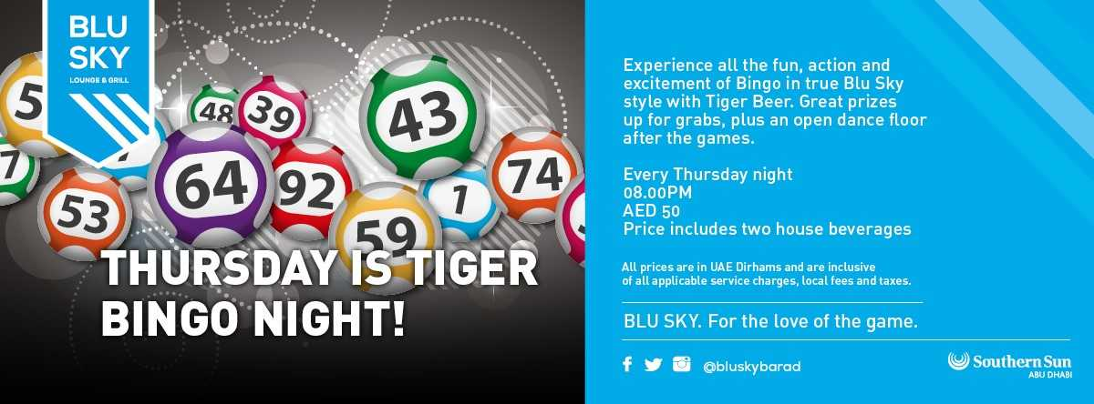 Thursday Tiger Bingo @ Blu Sky