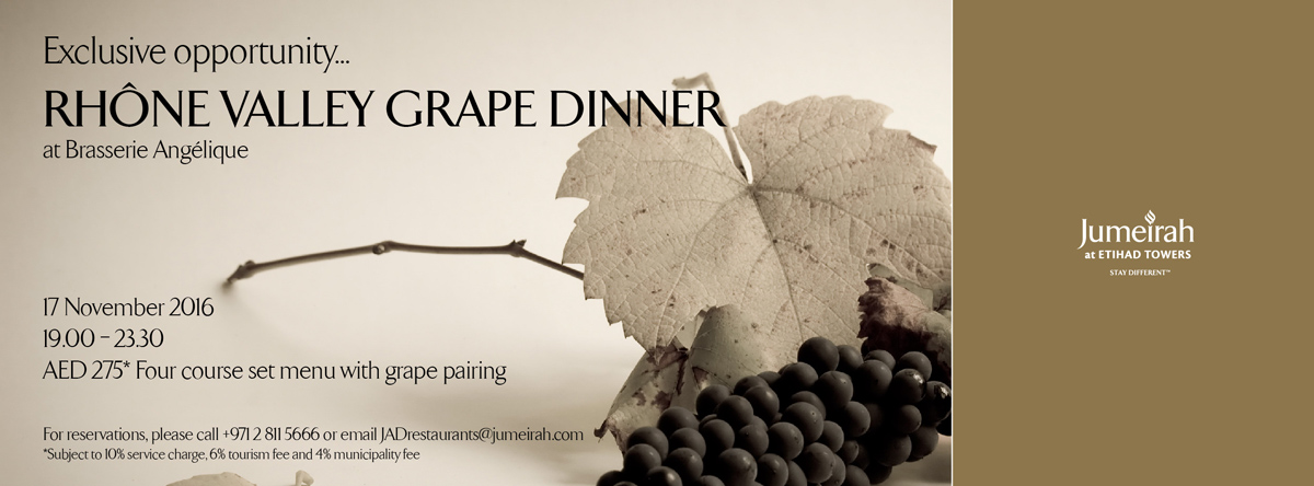 Exclusive opportunity for a Rhône Valley Grape Dinner