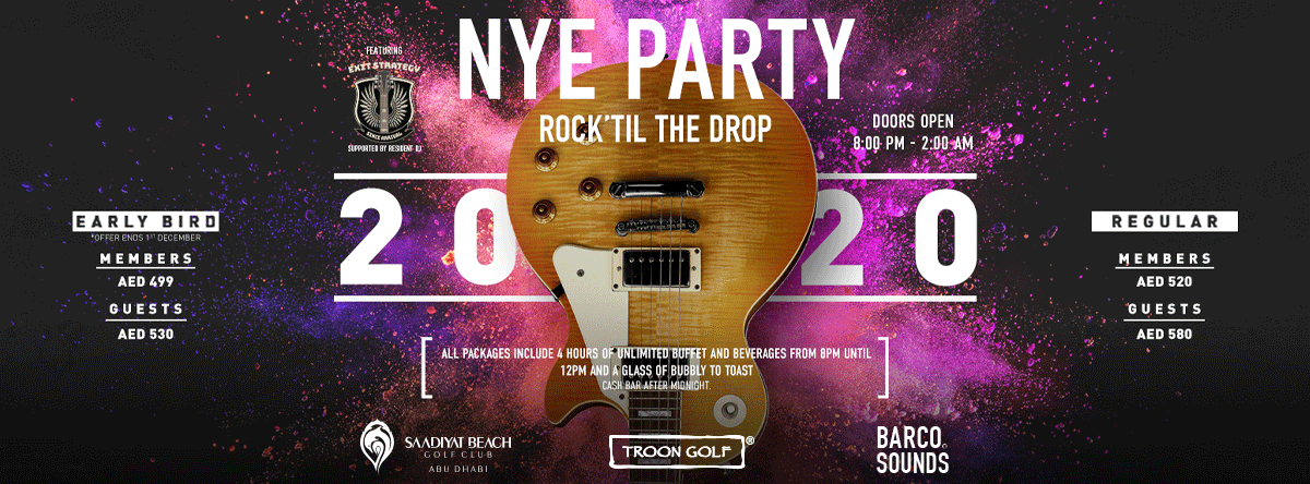 NYE Party - Rock 'Til the Drop @ Saadiyat Beach Golf Club