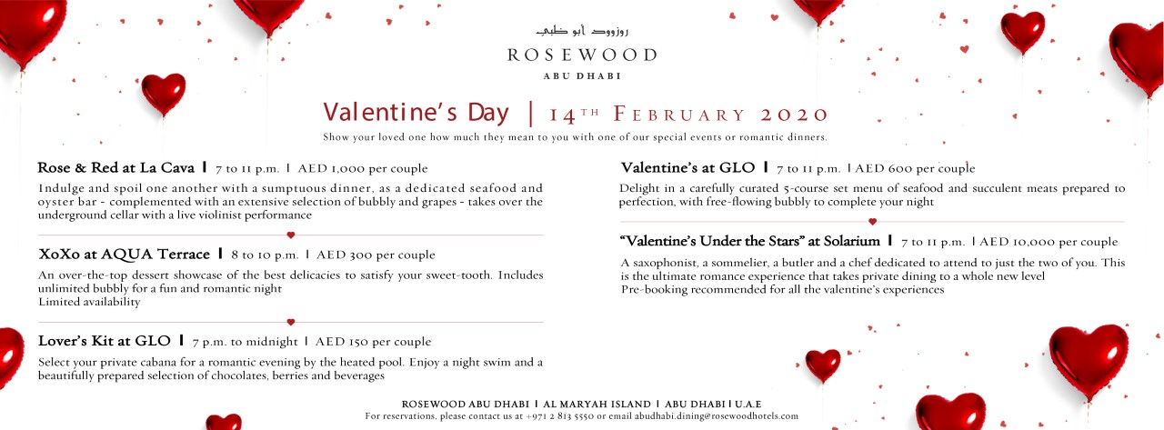 Valentine's Day celebrations @ Rosewood Abu Dhabi